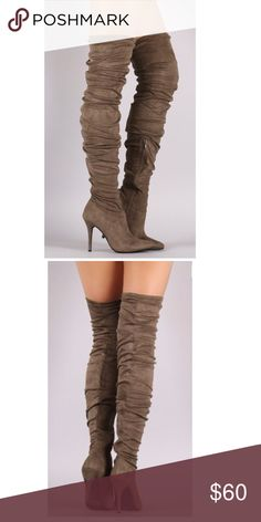 Taupe Stiletto Thigh High Boots Step into these thigh high boots and make fashion statements where ever you go! Kendra features a faux suede material, ruched detailing, pointy toe, single soles, side zipper for closure and cushioned insoles.   Heel Height: 4 inch Shoes Over the Knee Boots