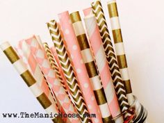 Set of 25 Pink and Gold Patterned Straws ~ Polka Dots, Chevron, Vintage, Shabby Chic, Perfect for Parties, Bridal Showers, & Weddings! on Etsy, $4.00