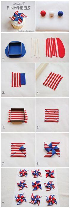 striped fondant pinwheel cupcakes