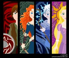 Big 4! by racookie3 on deviantART - Hiccup, Merida, Jack Frost, and Rapunzel