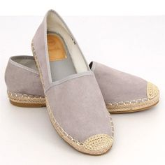 Women's espadrilles made of ecological suede. The model is distinguished by a classic cut with a braided linen string sole and toes. Women's Espadrilles, Espadrille Shoes, Suede Leather, Walking, Adidas, Grey, Heels, Fashion, Gray