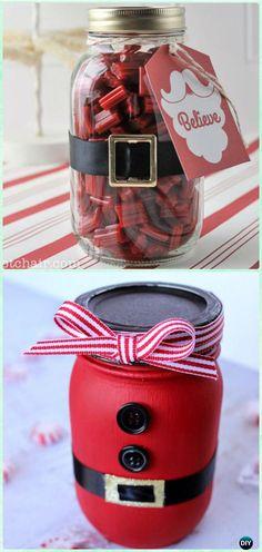 DIY Santa Mason Jar Gifts Instructions - DIY Mason Jar Christmas Gift Wrapping Ideas