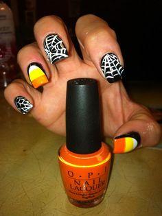 my candy corn nails for halloweenie!