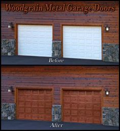 Faux Woodgrain Garage Doors - For the front door? Garage Door Update, Garage Door Design, Metal Garage Doors, Garage Shed, Tuscan Style, Modular Homes, Home Decor Inspiration, Home Projects, Outdoor Decor