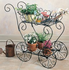 Scrolling Heart Decorative Metal Garden Cart