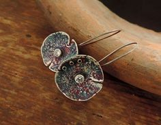 Silver earringsRustic SilverSterling SilverWhite by Kaziar on Etsy