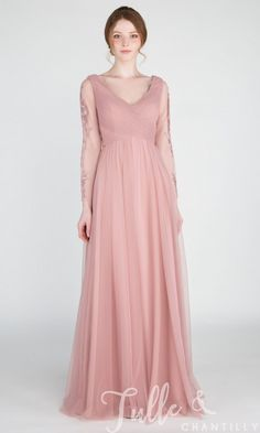 Gorgeous V-Neck Tulle Bridesmaid Dress With Lace Long Sleeves . Gorgeous V-neck Tulle Bridesmaid Dress with Lace Long Sleeves bridesmaid dresses with sleeves - Bridesmaid Dresses Taffeta Dress, Satin Dresses, Lace Dress, Dresses Dresses, Lace Maxi, Elegant Dresses, Lavender Bridesmaid Dresses, Bridesmaid Dresses With Sleeves, Bridesmaids