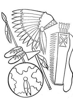 Coloriage d'un costume d'indien et de ses accessoires