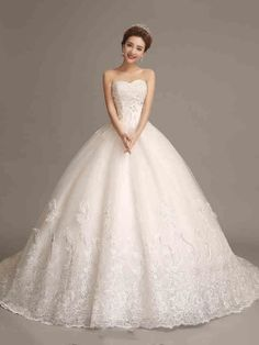Sweetheart Neckline Chapel Train Sleeveless Ball Gown Lace Wedding Dress & amazing Wedding Dresses