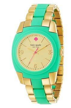 kate spade new york 'skyline' bracelet watch  Mint/ Gold from Nordstrom on shop.CatalogSpree.com, your personal digital mall.