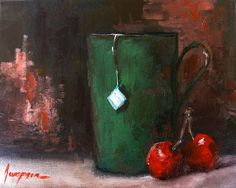 Cherry Tea In Green Mug Painting by Patricia Awapara - Cherry Tea In Green Mug Fine Art Prints and Posters for Sale