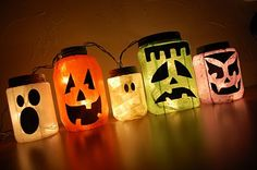 Monster Jar Lanterns. Again, glass jars but plastic will do in a pinch- acrylic paint, colored tissue paper, mod podge and strings of white lights/tealights. Using the mod podge, carefully apply the tissue paper to your jar this works best if you cut the tissue paper into strips first. Smooth carefully, overlap a tiny bit and cover the whole things up. Cut out face shapes from black paper or use paint and one of these templates. Once dry, add tea lights (glass jars) or a string of white…