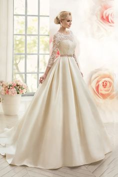 2016 Open Back Scoop With Applique And Sash A Line Satin Wedding Dresses € 182.15 SAP356NT4P - schickeabendkleider.de for mobile
