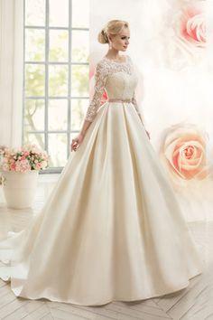 2016 Open Back Scoop With Applique And Sash A Line Satin Wedding Dresses € 182.15 SAP356NT4P - schickeabendkleider.de for mobile