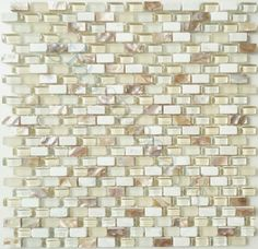 Pearl Beach Uniform Brick Cream/Beige Backsplash Glossy  Frosted Glass  Stone   kitchen tile