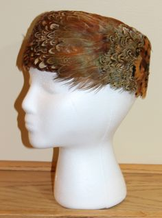 Vtg 60s Ladies Beautiful Pheasant Feather Autumn Pillbox Hat 2