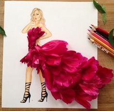 Armenian Fashion Illustrator Creates Stunning Dresses From Everyday Objects Moda Floral, Arte Fashion, Floral Fashion, Fashion Design Drawings, Fashion Sketches, Illustration Blume, Creative Artwork, Everyday Objects, Everyday Items