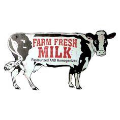 Barn Pictures, Cow Decor, Milk Shop, Romantic Manga, Vintage Metal Signs, Fresh Milk, Vintage Labels, Logo Inspiration, Farmhouse Decor