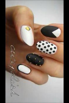 Monochrome nails #cutepolish