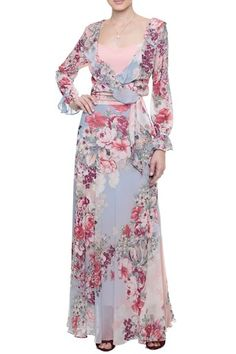 Vestido Longo Crepe Paradise Rosa e Roxo - Amissima