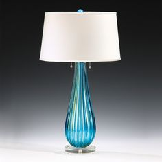 Aqua and Gold Venetian Glass Lamp
