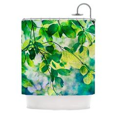 """Sylvia Cook """"Leaves"""" Teal Green Shower Curtain - KESS InHouse"""
