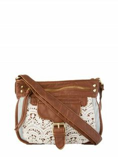 Beautiful, brown and lace crossbody bag