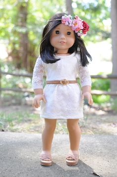 Dress by Anick's Boutique, belt by Buzzin' Bea, flower crown by Fleur 18 Studio #americangirldoll