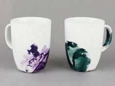 Tutoriales DIY: Taza decorada con esmalte de uñas vía DaWanda.com