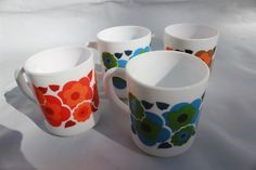 1970s mugs lotus design flowers arcopal milk glass retro by BeesFrenchBoutique on Etsy
