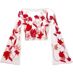 Giorgio Armani Vintage Sheer Sequin Flower Blouse (8,345 SVC) ❤ liked on Polyvore featuring tops, blouses, crop tops, shirts, blusas, red, shirts & blouses, sheer white blouse, red shirt and long shirts