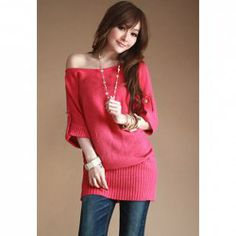 Elegant Bateau Neck Half Sleeve Solid Color Sweater For Women