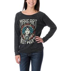 The Obey Make Art Not War sweatshirt is destined to become your new favorite sweatshirt. This oversized, crew neck, charcoal grey crew neck pullover features raglan-style sleeves and an art-inspired print of a pretty lady, paintbrushes and floral blooms. Pair this lightweight fleece with skinny jeans and a pair of slip-on shoes. This stylish sweatshirt is definitely Obey Posse approved.