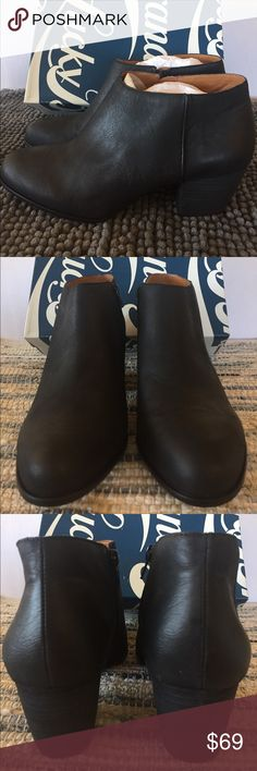 BRAND NEW Lucky Brand Sz 10 Booties TOLACHINA Women's Lucky Brand TOLACHINA Ankle Boots Size: 10 (fits more like a 9.5) please know your size for this brand before purchasing them.  Material: Leather Condition: New in the box   PLEASE NOTE: I typically wear a size 9.5 EUR 40. When wearing Lucky Brand most often I need to purchase a 10 EUR 40. Please know your size before buying.  Thanks for taking a peek. If time permits please take a look at the other items I have listed for sale. Happy…