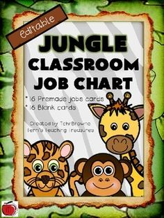 Organize your classroom jobs with this jungle themed jobs chart. Super cute graphics and fonts. There are 16 premade job cards and 16 blank cards if you prefer to customize your jobs. Header and footer signs make for a cohesive display.
