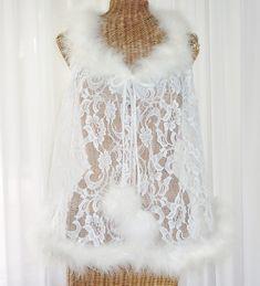86081b6275 Faris Lace Marabou Feather Robe 1X Vintage Lingerie