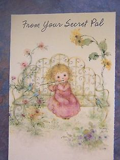 Mary-Hamilton-Hallmark-Secret-Pal-Greeting-Card-Flute-Bench-Flowers-Bird