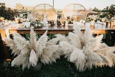This sweetheart table features pampas grass pieces + whicker chairs for a boho feel | Image by Nicole Leever Photography Wedding Chairs, Head Table Wedding, Wedding Seating, Wedding Ceremony, Wedding Venues, Wedding Centerpieces, Boho Wedding Decorations, Bohemian Chic Weddings, Boho Chic