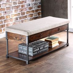 Simplify your entryway or living room with this compact and conveniently functional accent bench. The upholstered seat provides cushioned comfort while the two drawers and open shelf offer room for either small or large items.