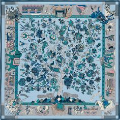 Fantaisies Indiennes | 2016年春夏コレクション | 《インドの幻想》| カレ・ジェアン ツイル・プリュム | シルクツイル | シルク 100% | サイズ: 140×140 cm | ロイック・デュビジョン によるデザイン | 商品番号 : H431744S 11 ciel | ¥113,320