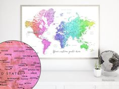 Personalized world map, nursery map in rainbow colors, rainbow nursery, gender neutral nursery decor, colorful nursery wall art. Rainbow map. Made in USA  Personalized world map poster, in this colorful watercolor color combination, featuring your favorite quote. We can also add, in the left lower corner, a couple names, a baby name, family name + date...   Printed on Epson Enhanced Matte Paper, perfect for framing.