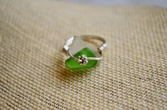 Green and White SeaGlass Wrapped Ring, Birthday present for her, Beachy Glass Ring for Mom, Wife, Beach lover, Genuine SeaGlass Jewelry