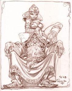 Mike Ploog - The Wiz, in David Kirkpatrick's *Favorites* Comic Art Gallery Room Cartoon Kunst, Comic Kunst, Cartoon Art, Wizard Drawings, Art Drawings, Fantasy Kunst, Fantasy Art, Science Fiction Kunst, Character Art