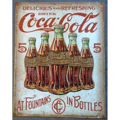 plaque coca cola 5 bouteilles retro tole pub deco bar diner -  www.hotrodspirit. 8a774d6a687