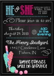 Cute gender reveal party invite!