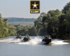 U.S. Soldiers aboard MK2 Bridge Erection Boats race down the Olt River in Voila, Romania during a tactical river crossing demonstration. U.S. and Romanian military forces participated in the demonstration to showcase combined combat readiness for the Distinguished Visitor Day during Saber Guardian 16.