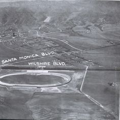 Historical Los Angeles, California, 1920:  The hand-drawn arrow, top left, is the Beverly Hills Hotel.  Below Wiltshire is the Los Angeles Speedway.