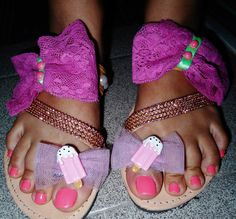 handmade lollipop sandals with pink lace bows and pink strass only for yummy girls!!! #summer #sandals #summersandals #icecream #strass #bows #lace #σανδαλια #χειροποιητα #παγωτα Sandals, Summer, Handmade, Women, Fashion, Moda, Shoes Sandals, Summer Time, Hand Made
