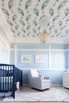 """Baby Blue Nursery in SF - We haven't seen a ceiling this amazing in awhile! The chandelier is from <a href=""""http://www.potterybarnkids.com/products/wood-beaded-chandelier/?pkey=e%7Cdahlia%7C5%7Cbest%7C0%7C1%7C24%7C%7C3"""