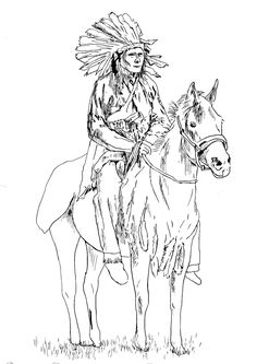 Free coloring page coloring-adult-native-american-on-his-horse. Magnificient drawing of a great Native American Chief on his horse (Source : kuco / 123RF)